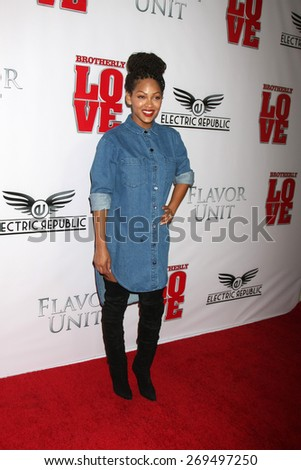 "LOS ANGELES - FEB 13:  Megan Good at the ""Brotherly Love"" LA Premiere at the Silver Screen Theater at the Pacific Design Center on April 13, 2015 in West Hollywood, CA - stock photo"