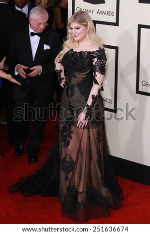 LOS ANGELES - FEB 8:  Meghan Trainor at the 57th Annual GRAMMY Awards Arrivals at a Staples Center on February 8, 2015 in Los Angeles, CA - stock photo