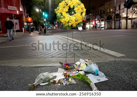 LOS ANGELES - FEB 27:  Memorial Wreath at the Star of Leonard Nimoy on the Hollywood Walk of Fame at the Hollywood Blvd on February 27, 2015 in Los Angeles, CA - stock photo
