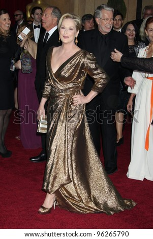 LOS ANGELES - FEB 26:  Meryl Streep arrives at the 84th Academy Awards at the Hollywood & Highland Center on February 26, 2012 in Los Angeles, CA. - stock photo