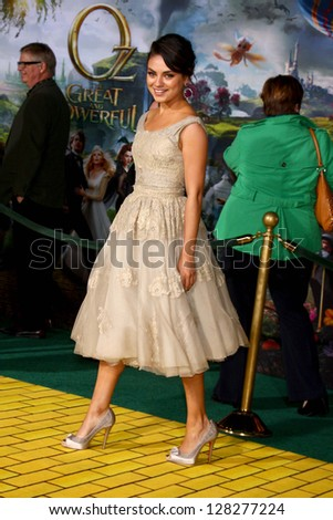 LOS ANGELES - FEB 13:  Mila Kunis at the 'Oz THe Great and Powerful!'  World Premiere at the El Capitan Theater on February 13, 2013 in Los Angeles, CA - stock photo