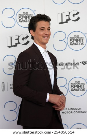 LOS ANGELES - FEB 21:  Miles Teller at the 30th Film Independent Spirit Awards at a tent on the beach on February 21, 2015 in Santa Monica, CA - stock photo