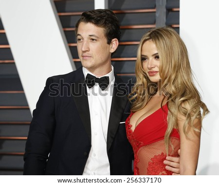 LOS ANGELES - FEB 22:  Miles Teller, Keleigh Sperry at the Vanity Fair Oscar Party 2015 at the Wallis Annenberg Center for the Performing Arts on February 22, 2015 in Beverly Hills, CA - stock photo