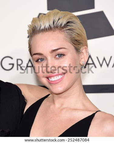 LOS ANGELES - FEB 08:  Miley Cyrus arrives to the Grammy Awards 2015  on February 8, 2015 in Los Angeles, CA                 - stock photo