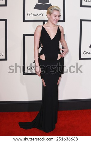 LOS ANGELES - FEB 8:  Miley Cyrus at the 57th Annual GRAMMY Awards Arrivals at a Staples Center on February 8, 2015 in Los Angeles, CA - stock photo