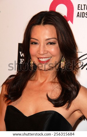 LOS ANGELES - FEB 22: ming na wen at the Elton John Oscar Party 2015 at the City Of West Hollywood Park on February 22, 2015 in West Hollywood, CA - stock photo