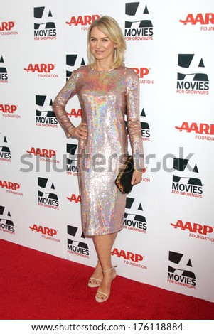 "LOS ANGELES - FEB 10:  Naomi Watts at the AARP ""Movies for Grownups"" Awards at Beverly Wilshire Hotel on February 10, 2014 in Los Angeles, CA - stock photo"