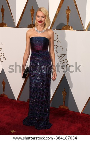 LOS ANGELES - FEB 28:  Naomi Watts at the 88th Annual Academy Awards - Arrivals at the Dolby Theater on February 28, 2016 in Los Angeles, CA - stock photo