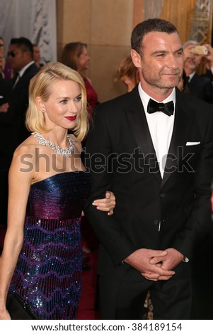 LOS ANGELES - FEB 28:  Naomi Watts, Liev Schreiber at the 88th Annual Academy Awards - Arrivals at the Dolby Theater on February 28, 2016 in Los Angeles, CA - stock photo