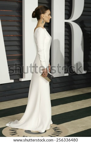 LOS ANGELES - FEB 22:  Natalie Portman at the Vanity Fair Oscar Party 2015 at the Wallis Annenberg Center for the Performing Arts on February 22, 2015 in Beverly Hills, CA - stock photo