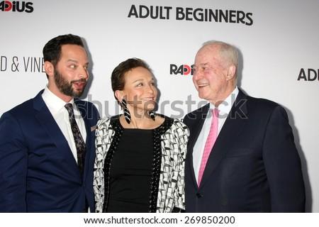 "LOS ANGELES - FEB 15:  Nick Kroll, Lynn Korda Kroll, Jules B. Kroll at the ""Adult Beginners"" Los Angeles Premiere at the ArcLight Hollywood Theaters on April 15, 2015 in Los Angeles, CA - stock photo"