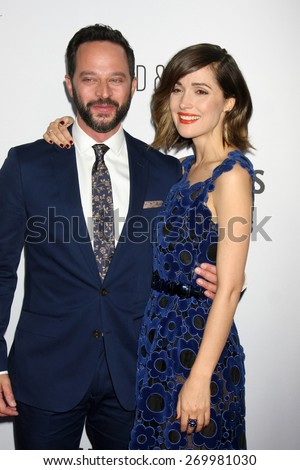 "LOS ANGELES - FEB 15:  Nick Kroll, Rose Byrne at the ""Adult Beginners"" Los Angeles Premiere at the ArcLight Hollywood Theaters on April 15, 2015 in Los Angeles, CA - stock photo"