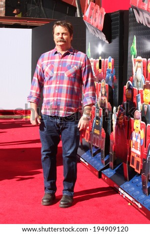 "LOS ANGELES - FEB 1:  Nick Offerman at the ""Lego Movie"" Premiere at Village Theater on February 1, 2014 in Westwood, CA"