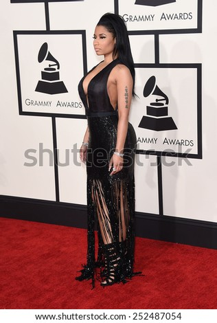 LOS ANGELES - FEB 08:  Nicki Minaj arrives to the Grammy Awards 2015  on February 8, 2015 in Los Angeles, CA                 - stock photo