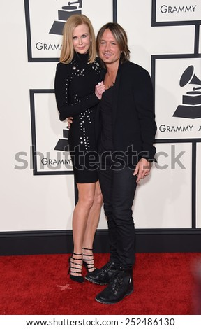 LOS ANGELES - FEB 08:  Nicole Kidman & Keith Urban arrives to the Grammy Awards 2015  on February 8, 2015 in Los Angeles, CA                 - stock photo