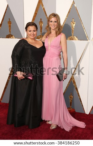 LOS ANGELES - FEB 28:  Nicole Rocklin, Blye Pagon Faust at the 88th Annual Academy Awards - Arrivals at the Dolby Theater on February 28, 2016 in Los Angeles, CA - stock photo