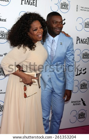 LOS ANGELES - FEB 21:  Oprah Winfrey, David Oyelowo at the 30th Film Independent Spirit Awards at a tent on the beach on February 21, 2015 in Santa Monica, CA - stock photo
