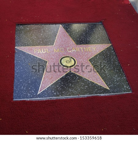 LOS ANGELES - FEB 09:  Paul McCartney star at the Walk of Fame Ceremony for Paul McCartney  on Febraury 09, 2012 in Hollywood, CA                 - stock photo