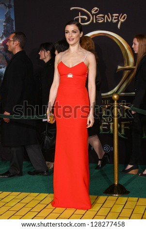 LOS ANGELES - FEB 13:  Rachel Weisz at the 'Oz THe Great and Powerful!'  World Premiere at the El Capitan Theater on February 13, 2013 in Los Angeles, CA - stock photo