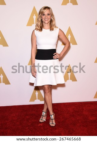 LOS ANGELES - FEB 02:  Reese Witherspoon arrives to the Oscar Nominee Reception  on February 2, 2015 in Beverly Hills, CA                 - stock photo