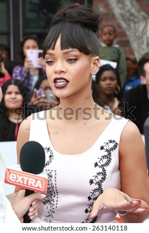 "LOS ANGELES - FEB 22:  Rihanna at the ""Home"" Special Screening Red Carpet at the Village Theater on March 22, 2015 in Westwood, CA - stock photo"