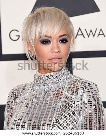 LOS ANGELES - FEB 08:  Rita Ora arrives to the Grammy Awards 2015  on February 8, 2015 in Los Angeles, CA                 - stock photo