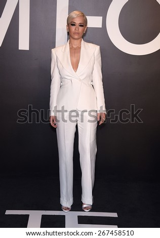 LOS ANGELES - FEB 20:  Rita Ora arrives to the Tom Ford Autumn/Winter 2015 Womenswear Collection Presentation  on February 20, 2015 in Hollywood, CA                 - stock photo