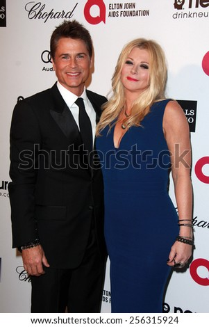 LOS ANGELES - FEB 22:  Rob Lowe, Sheryl Lowe at the Elton John Oscar Party 2015 at the City Of West Hollywood Park on February 22, 2015 in West Hollywood, CA - stock photo