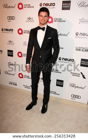 LOS ANGELES - FEB 22:  Robbie Amell at the Elton John Oscar Party 2015 at the City Of West Hollywood Park on February 22, 2015 in West Hollywood, CA - stock photo