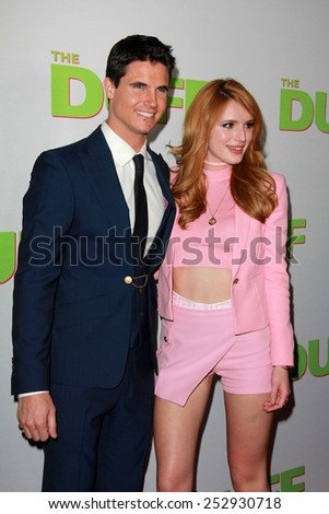 "LOS ANGELES - FEB 12:  Robbie Amell, Bella Thorne at the ""The Duff"" Los Angeles Premiere at a TCL Chinese 6 Theaters on February 12, 2015 in Los Angeles, CA - stock photo"