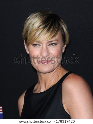 "LOS ANGELES - FEB 13:  Robin Wright the  ""House Of Cards"" Season 2 Premiere  on February 13, 2014 in West Hollywood, CA                 - stock photo"