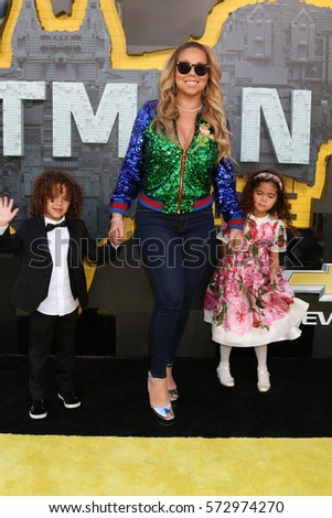 "LOS ANGELES - FEB 4:  Roc Cannon, Mariah Carey, Roe Cannon at the ""Lego Batman Movie"" Premiere at Village Theater on February 4, 2017 in Westwood, CA"