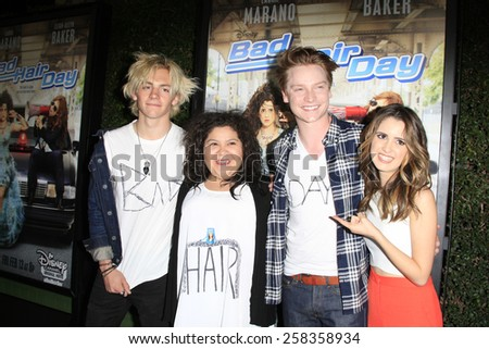 LOS ANGELES - FEB 10: Ross Lynch, Raini Rodriguez, Calum Worthy, Laura Marano at the screening of the Disney Channel Original Movie 'Bad Hair Day' on February 10, 2015 in Burbank, CA - stock photo