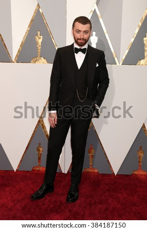 LOS ANGELES - FEB 28:  Sam Smith at the 88th Annual Academy Awards - Arrivals at the Dolby Theater on February 28, 2016 in Los Angeles, CA - stock photo