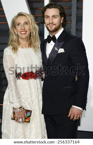 LOS ANGELES - FEB 22:  Sam Taylor-Johnson, Aaron Taylor-Johnson at the Vanity Fair Oscar Party 2015 at the Wallis Annenberg Center for the Performing Arts on February 22, 2015 in Beverly Hills, CA - stock photo
