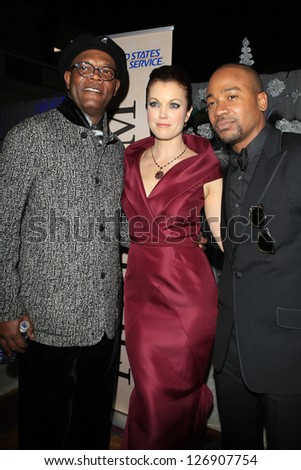 LOS ANGELES - FEB 1: Samuel L Jackson, Bellamy Young, Columbus Short in the Bellafortuna Entertainment gifting suite at the NAACP awards on February 1, 2013 in Los Angeles, California