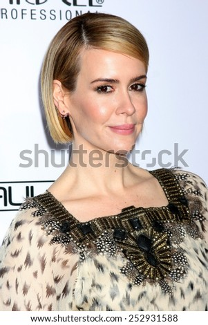 LOS ANGELES - FEB 14:  Sarah Paulson at the 2015 Make-up and Hair Stylists Guild Awards at a Paramount Theater on February 14, 2015 in Los Angeles, CA - stock photo