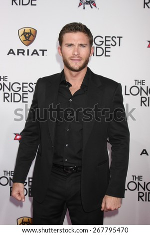 "LOS ANGELES - FEB 6:  Scott Eastwood at the ""The Longest Ride"" Los Angeles Premiere at the TCL Chinese Theater on FEB 6, 2015 in Los Angeles, CA - stock photo"