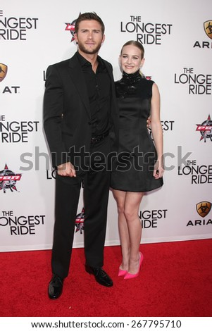 "LOS ANGELES - FEB 6:  Scott Eastwood, Britt Robertson at the ""The Longest Ride"" Los Angeles Premiere at the TCL Chinese Theater on FEB 6, 2015 in Los Angeles, CA - stock photo"