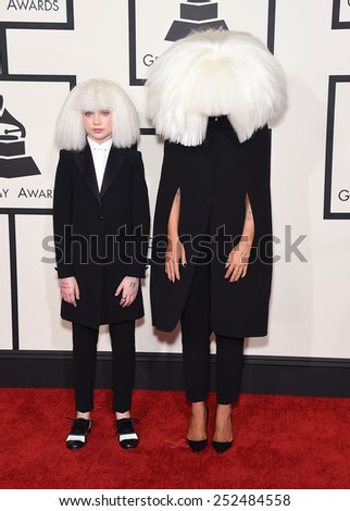 LOS ANGELES - FEB 08:  Sia & Maddie arrives to the Grammy Awards 2015  on February 8, 2015 in Los Angeles, CA                 - stock photo