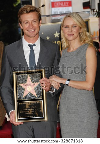 LOS ANGELES - FEB 14 - Simon Baker and Naomi Watts arrives at the Simon Baker  Star On The Hollywood Walk Of Fame Ceremony on February 14, 2013 in Los Angeles, CA              - stock photo