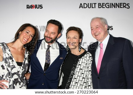"LOS ANGELES - FEB 15:  Sister, Nick Kroll, Lynn Korda Kroll, Jules B. Kroll at the ""Adult Beginners"" Los Angeles Premiere at the ArcLight Hollywood Theaters on April 15, 2015 in Los Angeles, CA - stock photo"