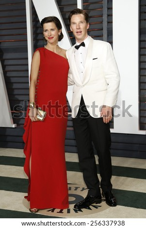 LOS ANGELES - FEB 22:  Sophie Hunter, Benedict Cumberbatch at the Vanity Fair Oscar Party 2015 at the Wallis Annenberg Center for the Performing Arts on February 22, 2015 in Beverly Hills, CA - stock photo