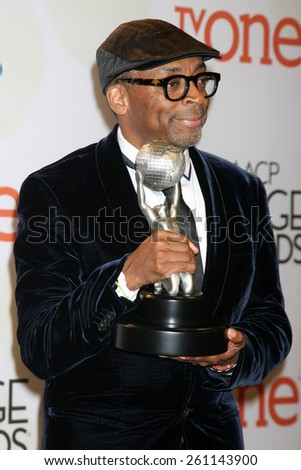 LOS ANGELES - FEB 6:  Spike Lee at the 46th NAACP Image Awards Press Room at a Pasadena Convention Center on February 6, 2015 in Pasadena, CA - stock photo