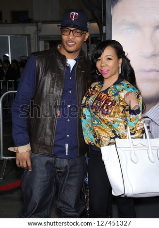 "LOS ANGELES - FEB 04:  T.I. & Tameka 'Tiny' Cottle arrives to the ""Identity Thief"" World Premiere  on February 04, 2013 in Westwood, CA"
