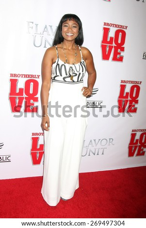 "LOS ANGELES - FEB 13:  Tatyana Ali at the ""Brotherly Love"" LA Premiere at the Silver Screen Theater at the Pacific Design Center on April 13, 2015 in West Hollywood, CA - stock photo"