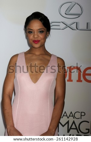 LOS ANGELES - FEB 6:  Tessa Thompson at the 46th NAACP Image Awards Arrivals at a Pasadena Convention Center on February 6, 2015 in Pasadena, CA