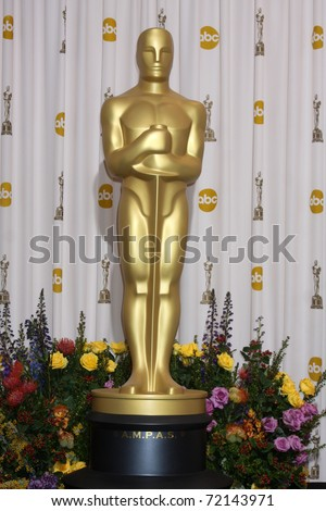 LOS ANGELES -  FEB 27: The Oscar statue stands in the Press Room at the 83rd Academy Awards at Kodak Theater, Hollywood & Highland on February 27, 2011 in Los Angeles, CA - stock photo