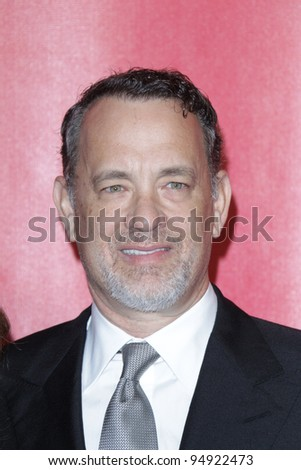 LOS ANGELES - FEB 10:  Tom Hanks arrives at the 2012 MusiCares Gala honoring Paul McCartney at LA Convention Center on February 10, 2012 in Los Angeles, CA - stock photo