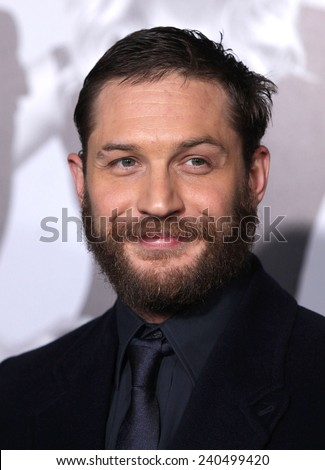 "LOS ANGELES - FEB 08:  TOM HARDY arrives to the ""This Means War"" Los Angeles Premiere  on February 08, 2012 in Hollywood, CA                 - stock photo"